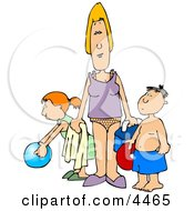 Single Parent Trying To Have Fun At The Beach With Her Children Clipart