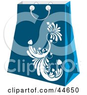 Clipart Illustration Of A Blue Shopping Bag With A White Scroll Design by MilsiArt