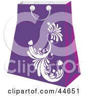 Clipart Illustration Of A Purple Shopping Bag With A White Scroll Design by MilsiArt