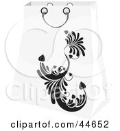 Clipart Illustration Of A White Shopping Bag With A Black Scroll Design by MilsiArt