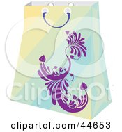 Clipart Illustration Of A Green Gradient Shopping Bag With A Purple Scroll Design by MilsiArt