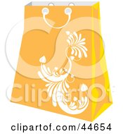 Clipart Illustration Of An Orange Shopping Bag With A White Scroll Design