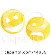 Clipart Illustration Of Two Yellow Theater Mask Emoticons by MilsiArt
