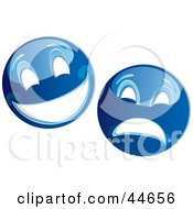 Clipart Illustration Of Two Blue Theater Mask Emoticons by MilsiArt