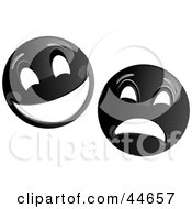 Clipart Illustration Of Two Black Theater Mask Emoticons by MilsiArt #COLLC44657-0110