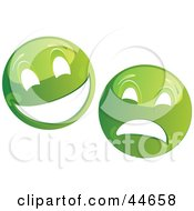 Clipart Illustration Of Two Green Theater Mask Emoticons by MilsiArt