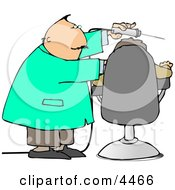 Dentist Using Big Drill On Patients Teeth Clipart