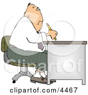 Businessman Working At A Desk