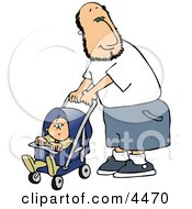 Happy Single Father Pushing His Baby Boy In A Stroller Clipart by Dennis Cox
