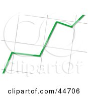 Clipart Illustration Of A Green Line Going Up On A Bar Graph Chart