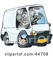 Friendly Koala Waving And Driving A White Delivery Van With Space On The Side For You To Insert Text