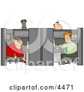 Customer Service People Working In Their Cubicles Clipart