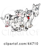 Clipart Illustration Of A Cloned Matching Cat Dog Horse And Cow