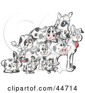 Clipart Illustration Of A Rabbit Mouse Fish Cat Bird Pig Dog Cow And Horse With Matching Cloned Coats by Dennis Holmes Designs