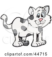 Clipart Illustration Of A Spotted Cloned Cat With A Dalmatian Coat Pattern