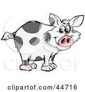 Clipart Illustration Of A Spotted Cloned Pig With A Dalmatian Coat Pattern