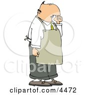 Restaurant Food Handler Wearing An Apron And Picking His Nose For Boogers Clipart