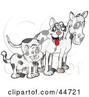 Clipart Illustration Of A Cloned Matching Cat Dog And Horse