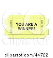 Royalty Free RF Clipart Illustration Of A Yellow You Are A Winner Ticket