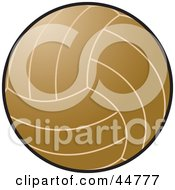 Royalty Free RF Clipart Illustration Of A Brown Volleyball