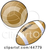 Royalty Free RF Clipart Illustration Of A Brown Volleyball And American Football