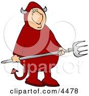 Devil Holding A Pitchfork Clipart