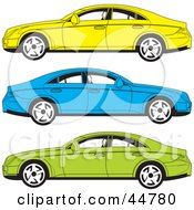 Royalty Free RF Clipart Illustration Of A Digital Collage Of Yellow Blue And Green Cars In Profile