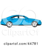 Royalty Free RF Clipart Illustration Of A Parked Blue Four Door Car In Profile