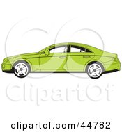 Royalty Free RF Clipart Illustration Of A Parked Green Four Door Car In Profile