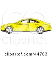Royalty Free RF Clipart Illustration Of A Parked Yellow Four Door Car In Profile