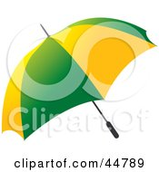 Royalty Free RF Clipart Illustration Of A Green And Yellow Open Umbrella by Lal Perera