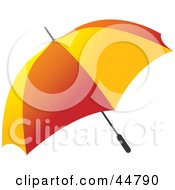 Royalty Free RF Clipart Illustration Of A Red And Yellow Open Umbrella by Lal Perera