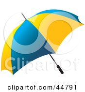 Royalty Free RF Clipart Illustration Of A Blue And Yellow Open Umbrella by Lal Perera