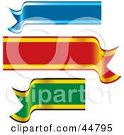 Royalty Free RF Clipart Illustration Of A Digital Collage Of Blue Red And Green Blank Waving Banners by Lal Perera