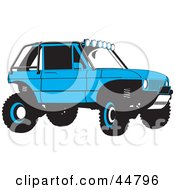 Royalty Free RF Clipart Illustration Of A Blue Soft Top Jeep SUV by Lal Perera