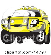 Royalty Free RF Clipart Illustration Of A Yellow Jeep SUV With A Metal Grill by Lal Perera