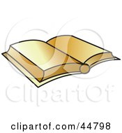 Royalty Free RF Clipart Illustration Of An Open Golden Bible Or Text Book by Lal Perera