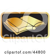 Royalty Free RF Clipart Illustration Of A Golden School Book Open