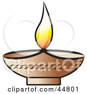 Royalty Free RF Clipart Illustration Of A Glowing Oil Lamp With A Flame by Lal Perera