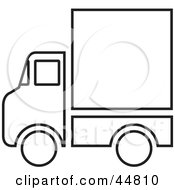 Royalty Free RF Clipart Illustration Of A Black And White Delivery Service Truck Outline by Lal Perera