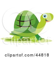 Royalty Free RF Clipart Illustration Of A Happy Green Tortoise Character With Blue Eyes by Lal Perera