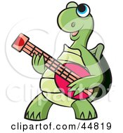 Happy Blue Eyed Green Tortoise Character Playing A Guitar