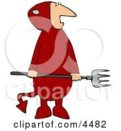 Evil Halloween Devil Wearing A Costume And Holding A Pitchfork Clipart