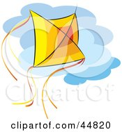 Royalty Free RF Clipart Illustration Of A Red Orange And Yellow Kite Flying Against A Cloudy Sky
