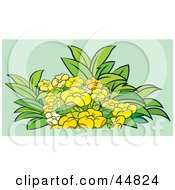 Royalty Free RF Clipart Illustration Of A Flowering Plant With Yellow Blooms