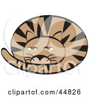 Royalty Free RF Clipart Illustration Of A Groggy Curled Up Brown Cat With Black Stripes