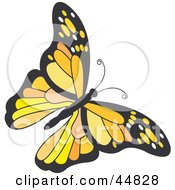 Royalty Free RF Clipart Illustration Of A Flying Orange Black And Yellow Butterfly by Lal Perera