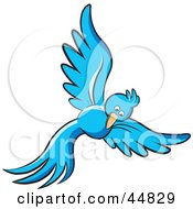 Royalty Free RF Clipart Illustration Of A Flying Long Tailed Blue Bird Looking Down