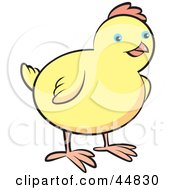 Royalty Free RF Clipart Illustration Of A Chubby Yellow Spring Chick With Blue Eyes by Lal Perera