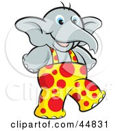 Royalty Free RF Clipart Illustration Of A Young Elephant Wearing Spotted Overalls And Walking Upright by Lal Perera